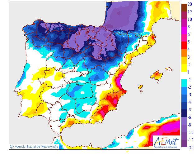 Variación de temperaturas máximas AEMET. 11 Meteosojuela