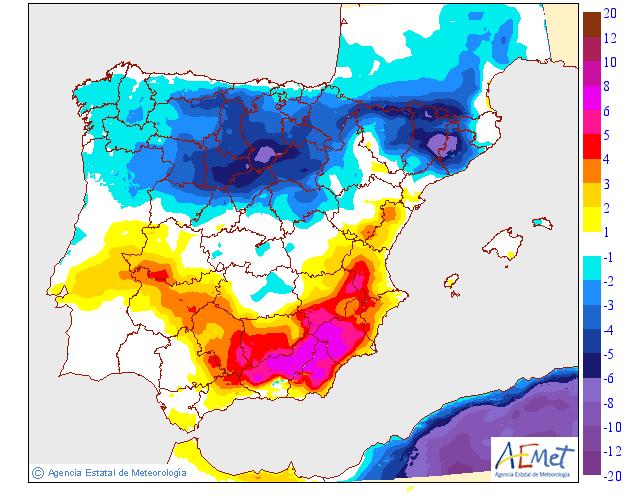 Variación de temperaturas máximas AEMET. 16 Meteosojuela