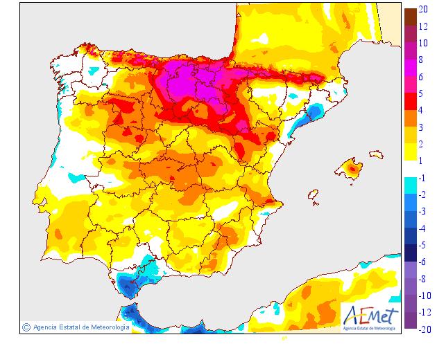 Variación de temperaturas máximas AEMET.13 Meteosojuela