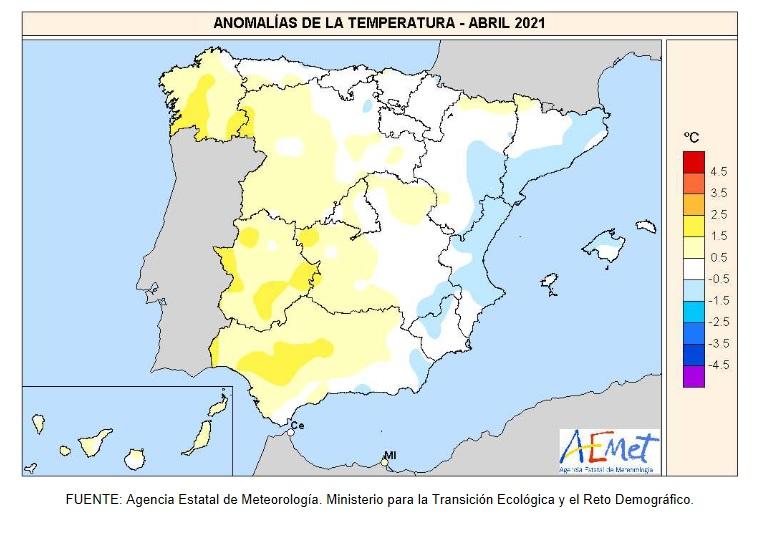 Anomalía Temperaturas Abril 2021. AEMET. Meteosojuela