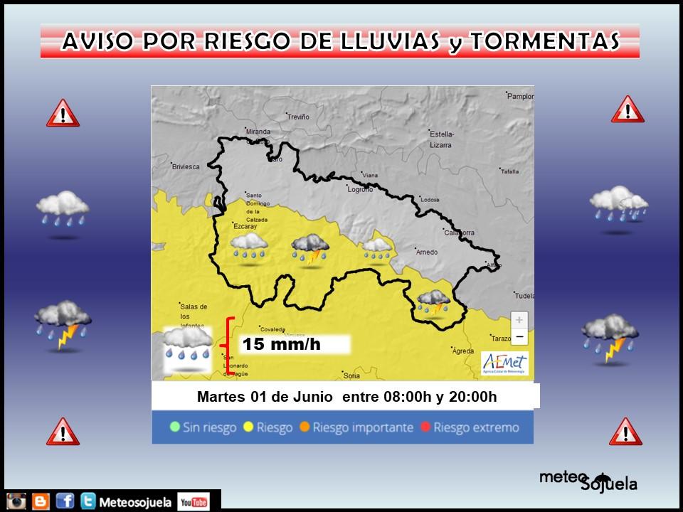 Aviso Amarillo Lluvias y tormentas Ibérica AEMET