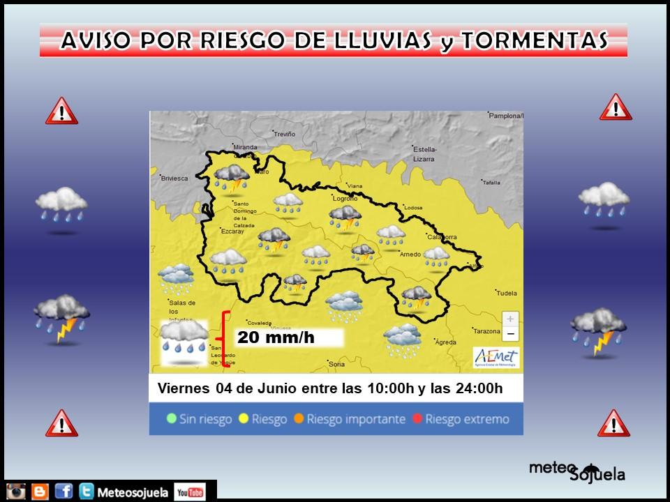 Aviso Amarillo por Lluvias y Tormentas 04 AEMET
