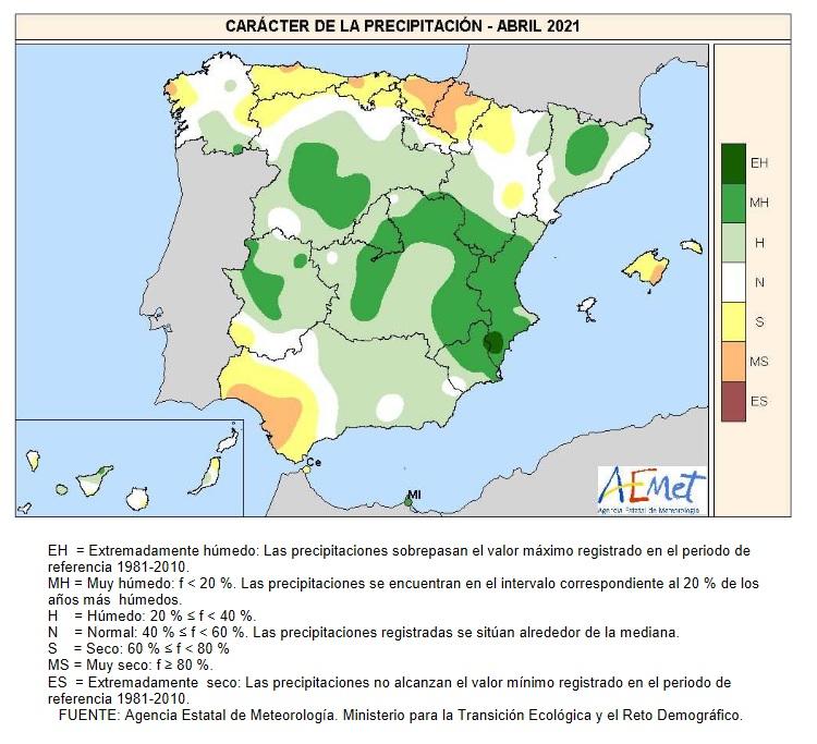 Caracter de la Precipitación Abril 2021
