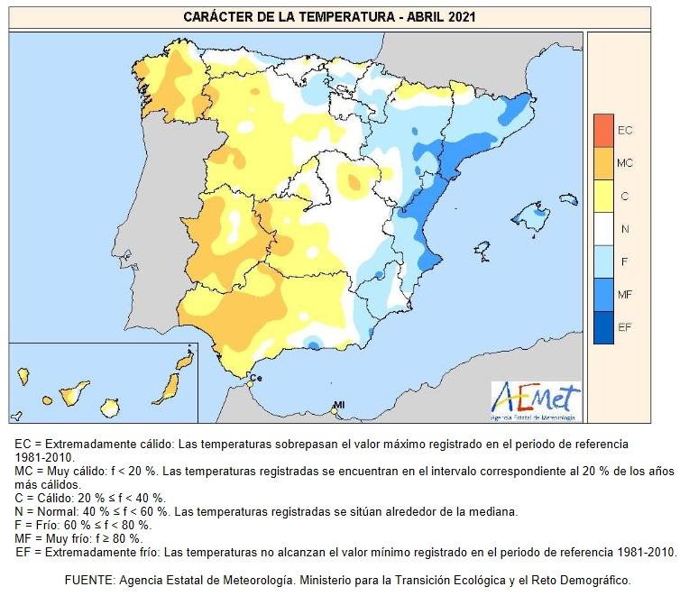 Caracter de la Temperatura Abril 2021