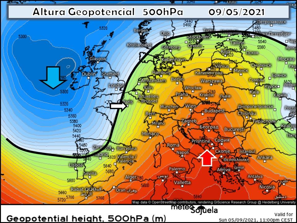 Mapa Altura Geopotencial 500hPa. Meteosojuela