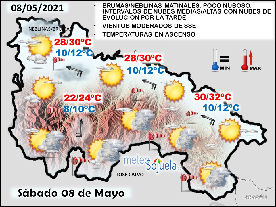 Mapa del tiempo en La Rioja. Meteosojuela