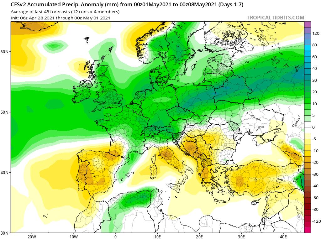 Modelos de Precipitación semanal Mayo CFS 1ª Semana .Meteosojuela La Rioja