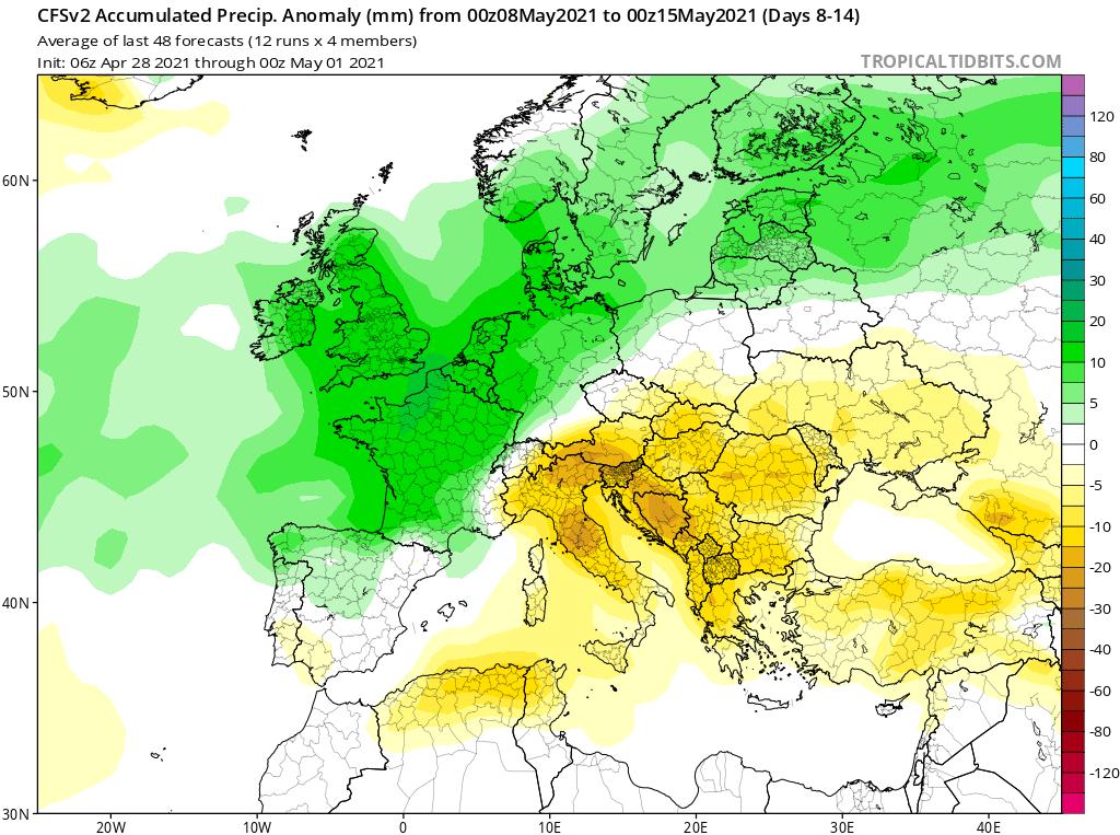 Modelos de Precipitación semanal Mayo CFS 2ª Semana .Meteosojuela La Rioja