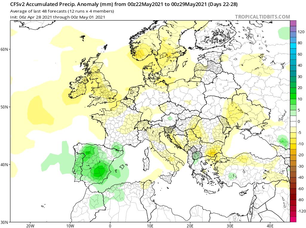 Modelos de Precipitación semanal Mayo CFS 4ª Semana .Meteosojuela La Rioja