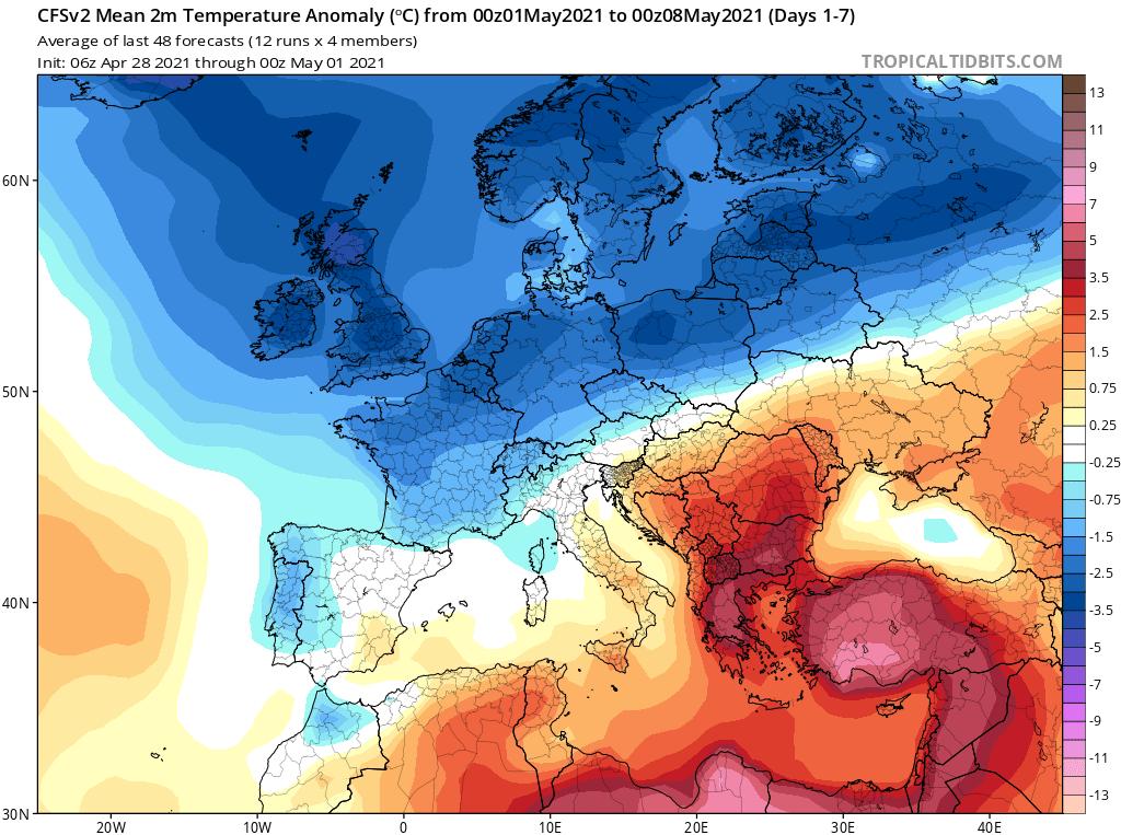 Modelos de Temperatura semanal Mayo CFS 1ª Semana .Meteosojuela La Rioja