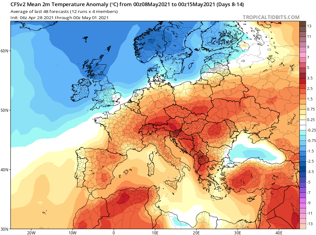 Modelos de Temperatura semanal Mayo CFS 2ª Semana .Meteosojuela La Rioja