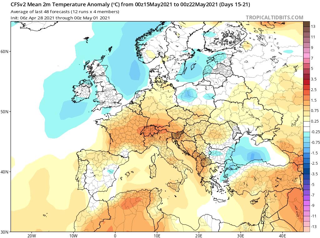 Modelos de Temperatura semanal Mayo CFS 3ª Semana .Meteosojuela La Rioja