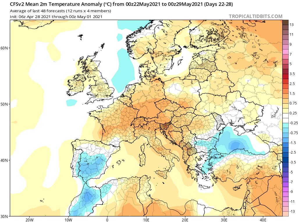 Modelos de Temperatura semanal Mayo CFS 4ª Semana .Meteosojuela La Rioja