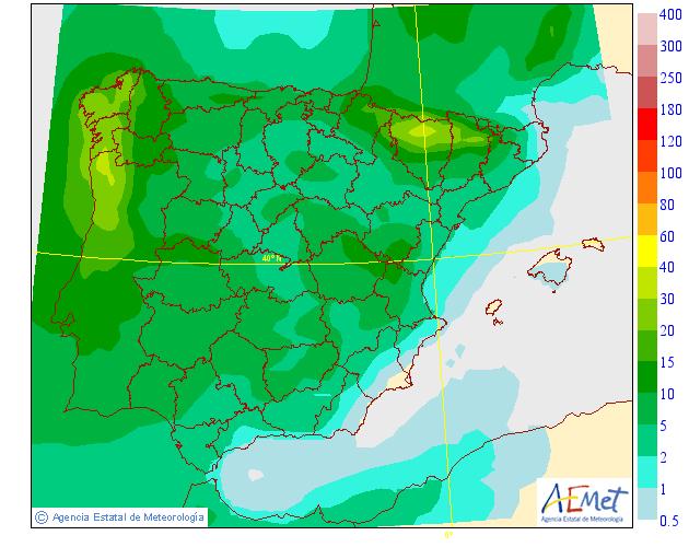 Precipitación Media según AEMET.09 Meteosojuela La Rioja
