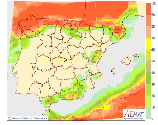 Probabilidad de precipitación según AEMET. 05 Meteosojuela La Rioja