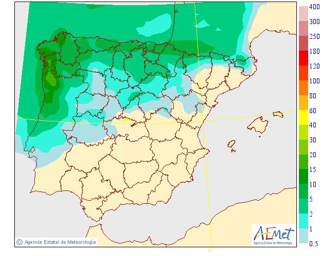 Probabilidad de precipitación según AEMET. 12 Meteosojuela La Rioja