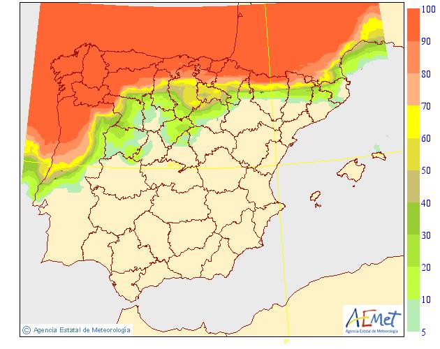Probabilidad de precipitación según AEMET. 15 Meteosojuela La Rioja