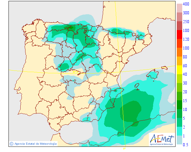 Probabilidad de precipitación según AEMET. 28 Meteosojuela La Rioja
