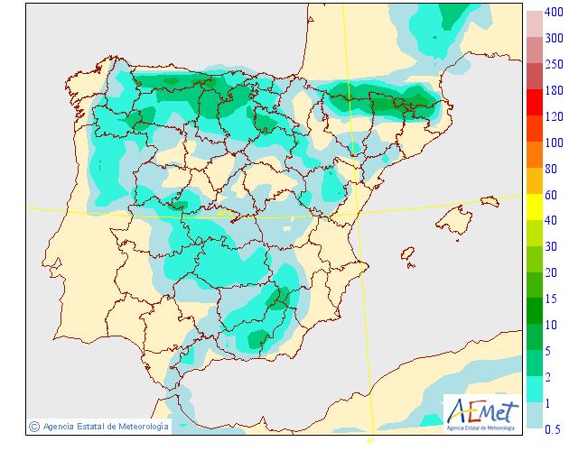 Probabilidad de precipitación según AEMET. 31 Meteosojuela La Rioja