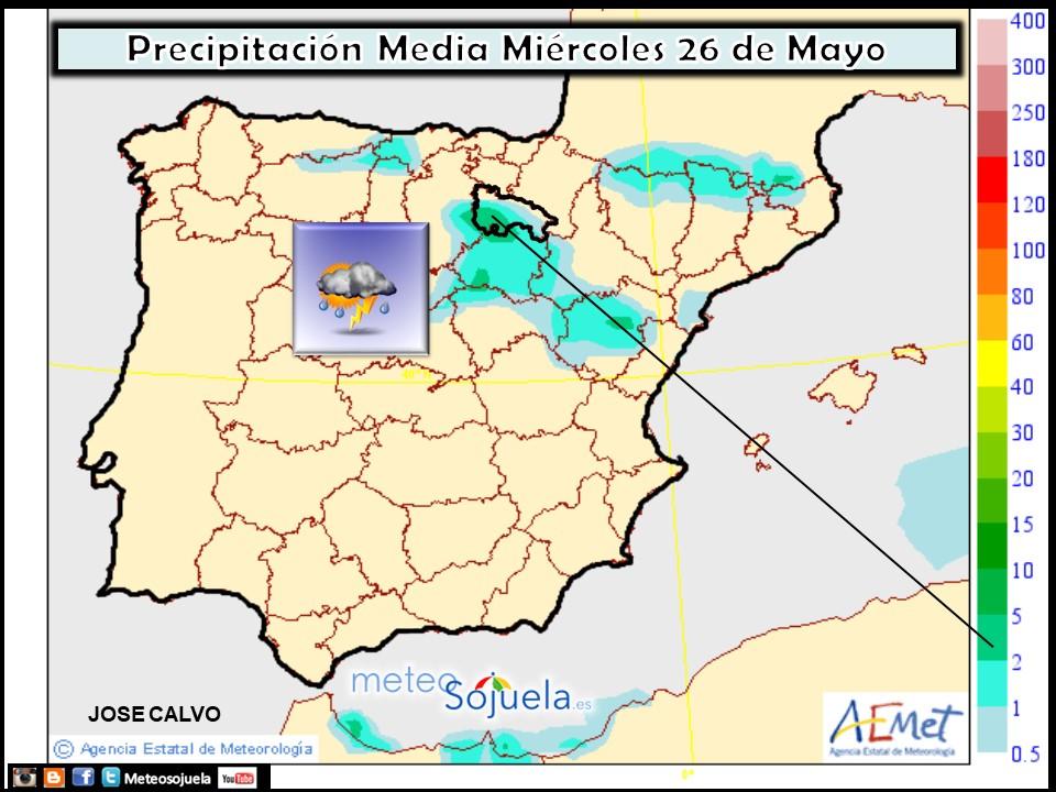 Probabilidad de precipitación según AEMET. Meteosojuela La Rioja