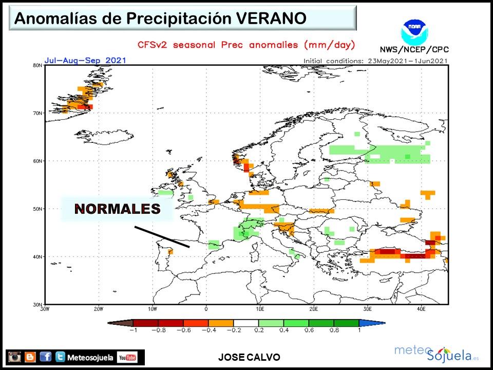 Anomalías Precipitación previstas Verano 2021. Meteosojuela