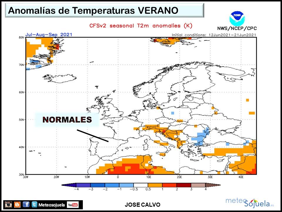 Anomalías Temperaturas previstas Verano 2021. Meteosojuela