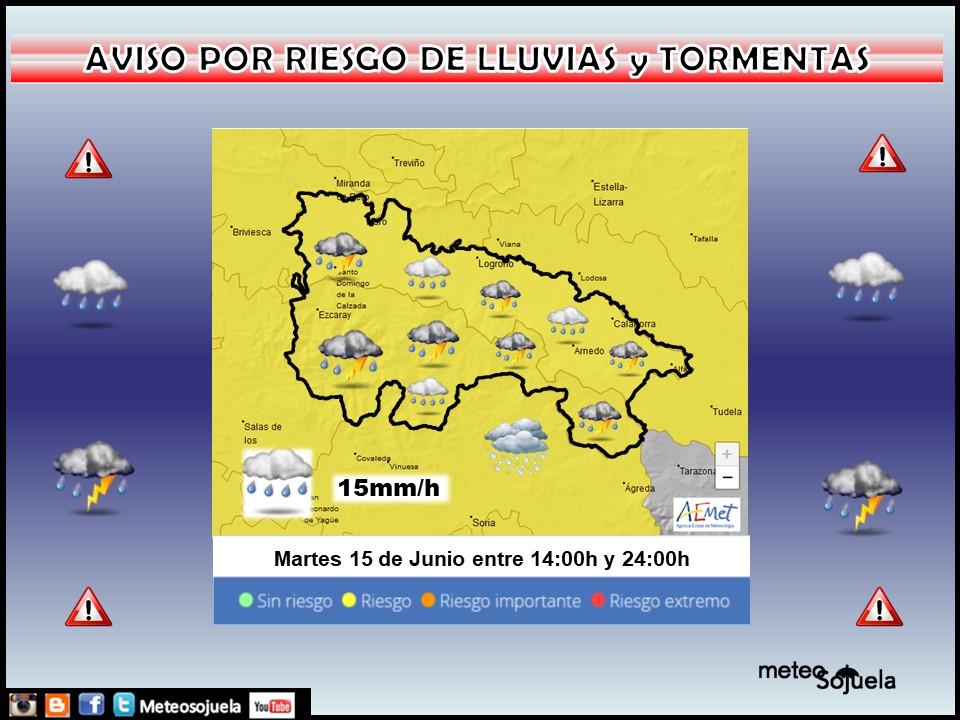 Aviso Amarillo por Lluvias y Tormentas . AEMET. 15 Meteosojuela