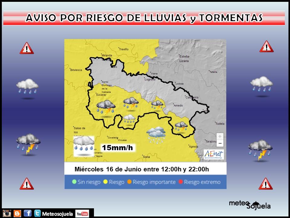 Aviso Amarillo por Lluvias y Tormentas . AEMET. 16 Meteosojuela