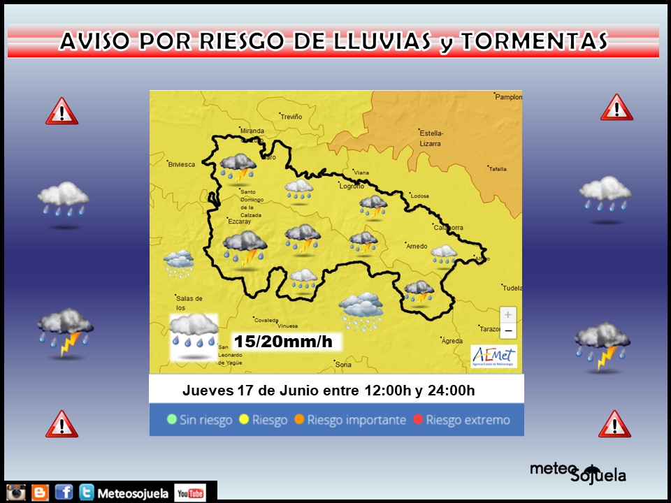 Aviso Amarillo por Lluvias y Tormentas . AEMET. 17 Meteosojuela