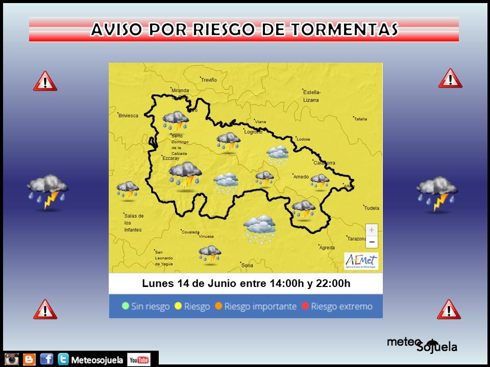 Aviso Amarillo por Tormentas . AEMET. 14 Meteosojuela