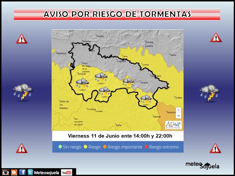 Aviso Amarillo por Tormentas en la Ibérica. AEMET. Meteosojuela