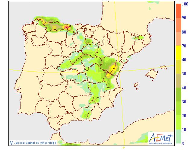 Probabilidad de Precipitación según AEMET. 08 Meteosojuela La Rioja