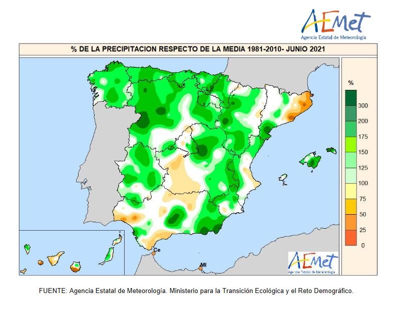 Anomalía Precipitación JUNIO 2021. AEMET. Meteosojuela