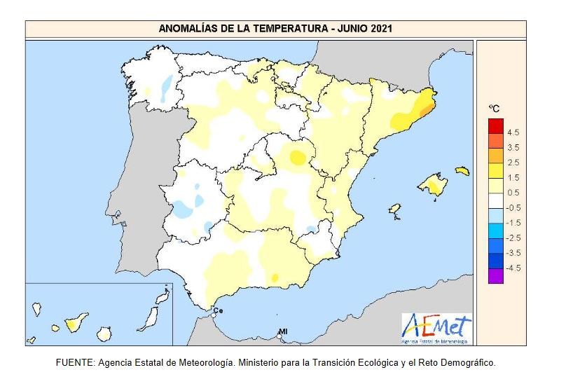 Anomalía Temperaturas JUNIO 2021. AEMET. Meteosojuela