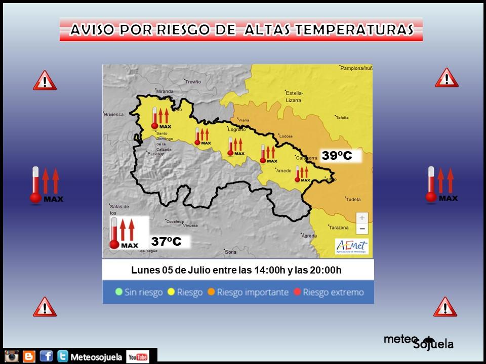 Aviso Amarillo por ltas Temperaturas . AEMET. Meteosojuela
