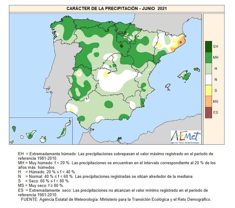 Caracter de la Precipitación Junio 2021