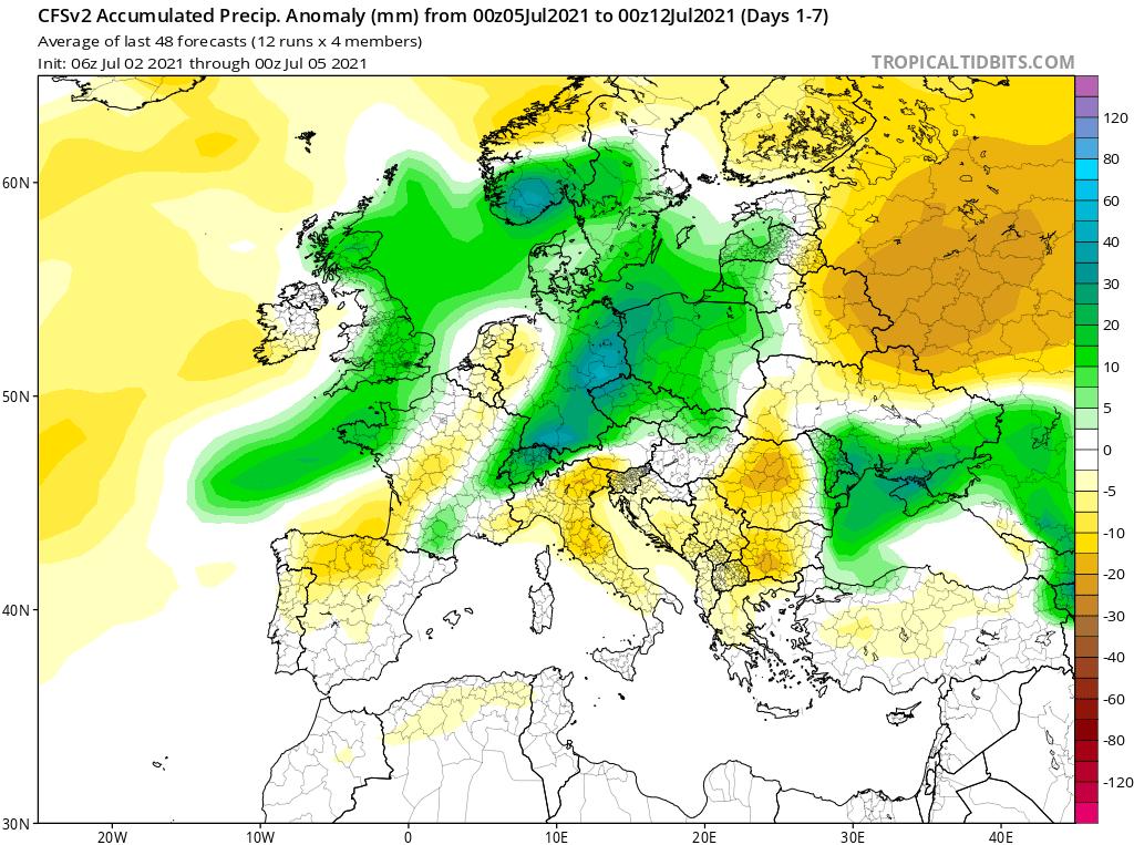 Modelos de Precipitación semanal Julio GFS 1ª Semana .Meteosojuela La Rioja