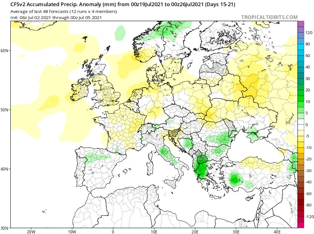 Modelos de Precipitación semanal Julio GFS 3ª Semana .Meteosojuela La Rioja