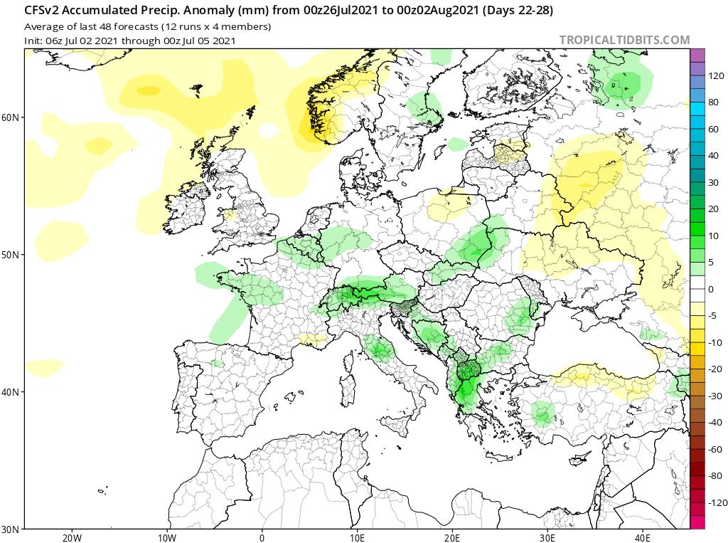 Modelos de Precipitación semanal Julio GFS 4ª Semana .Meteosojuela La Rioja