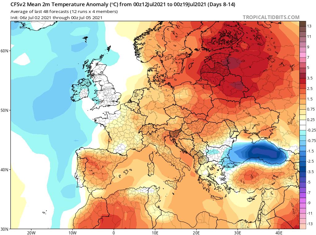 Modelos de Temperatura semanal Julio GFS 2ª Semana .Meteosojuela La Rioja