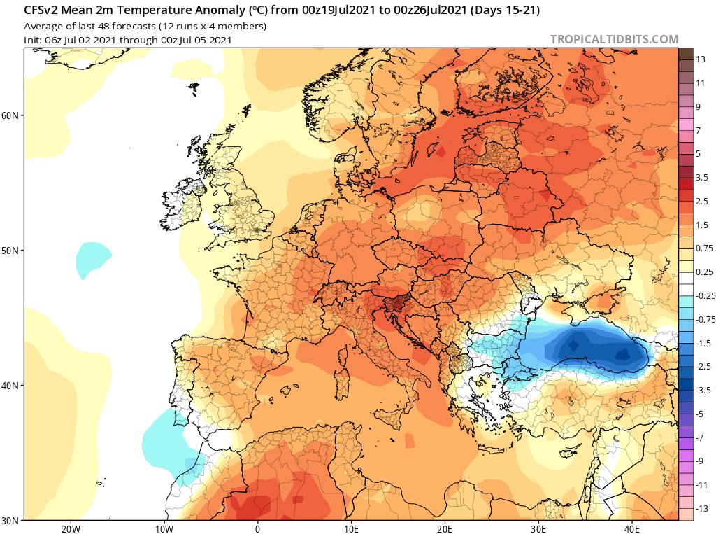 Modelos de Temperatura semanal Julio GFS 3ª Semana .Meteosojuela La Rioja