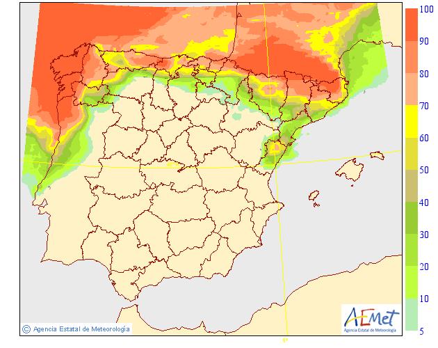 Probabilidad de precipitación según AEMET. 4 Meteosojuela La Rioja