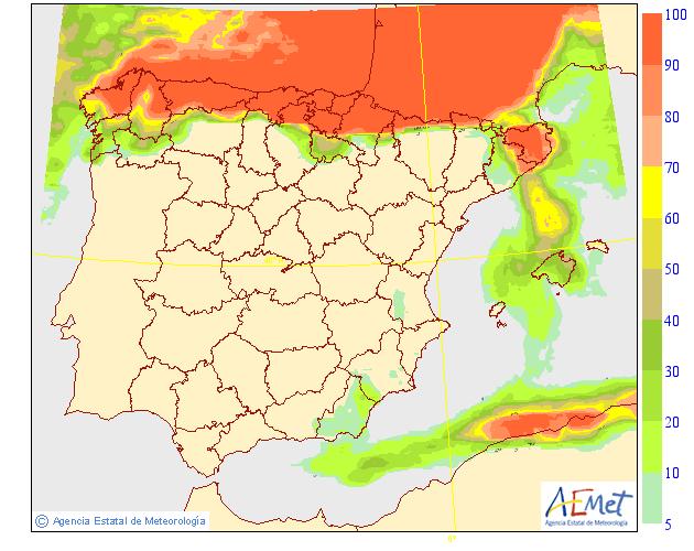 Probabilidad de precipitación según AEMET.13 Meteosojuela La Rioja