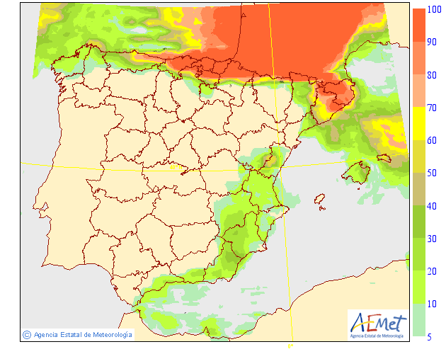 Probabilidad de precipitación según AEMET.14 Meteosojuela La Rioja
