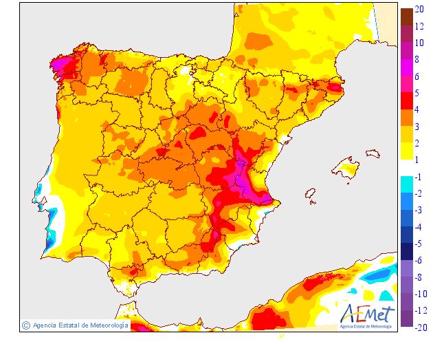 Variació de temperaturas máximas AEMET. 16 Meteosojuela
