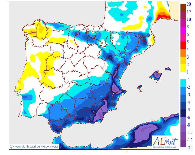 Variación de temperaturas máximas AEMET. 25 Meteosojuela