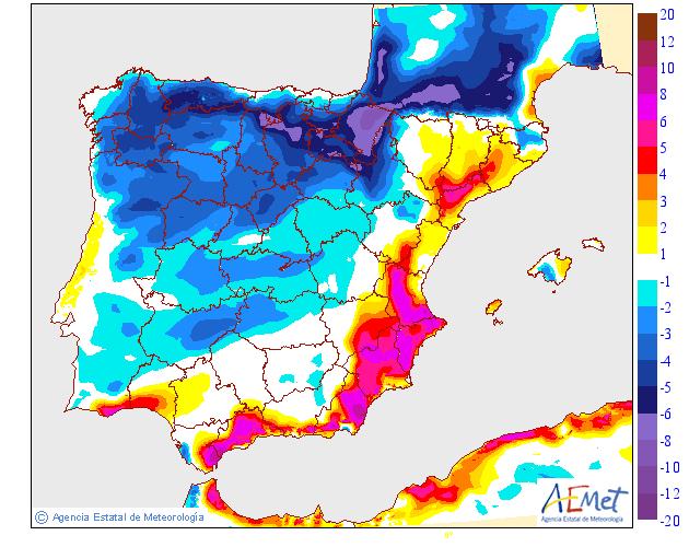 Variación de temperaturas máximas AEMET. 30 Meteosojuela