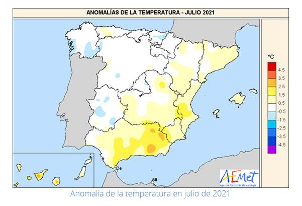 Anomalías Temperaturas mes de Julio. Meteosojuela
