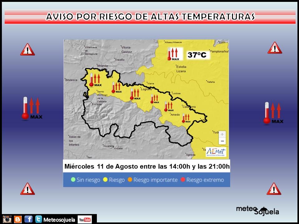 Aviso Amarillo por Altas temperaturas en la Ribera. AEMET.
