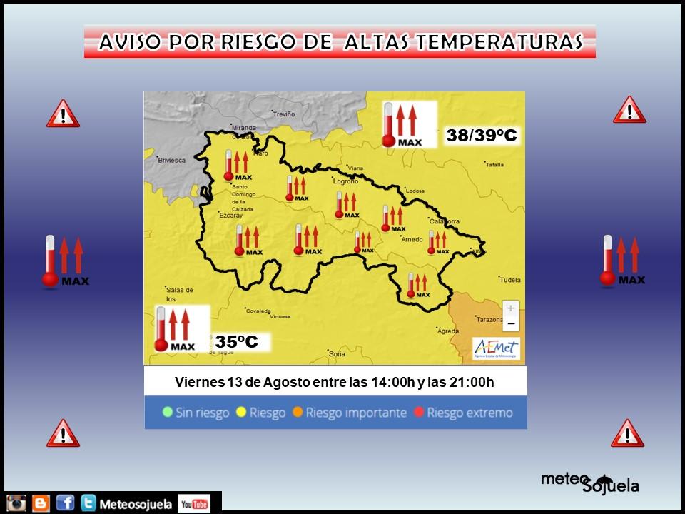 Avisos Amarillos por altas temperaturas. AEMET